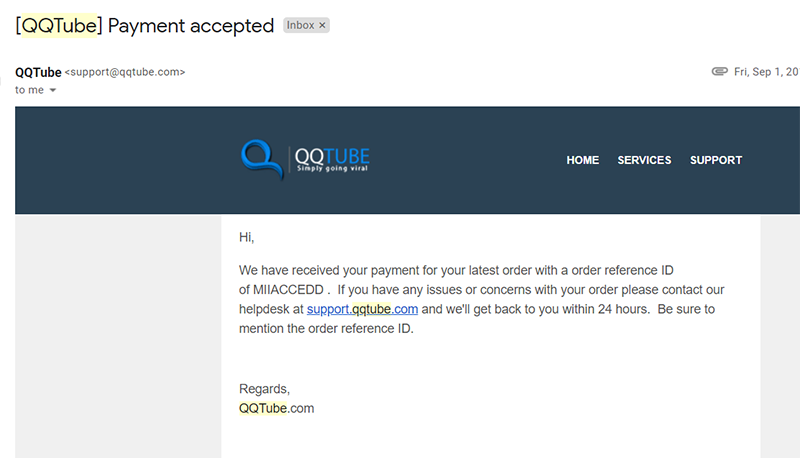 receive an email confirming your order successfully