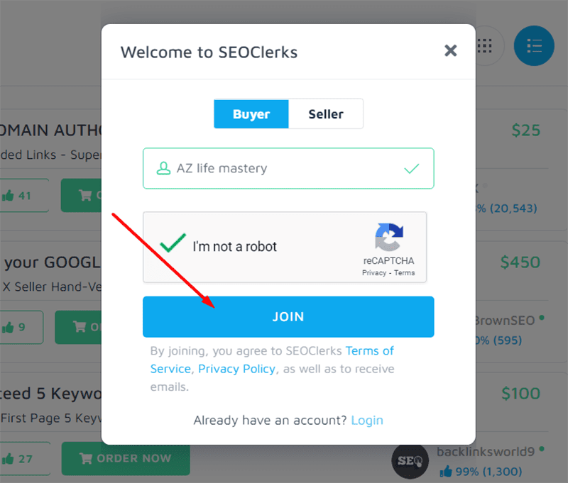 """Click """"JOIN"""" to register a new account"""