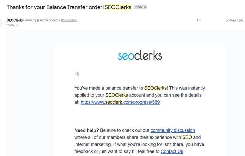email and will see the amount added to your account