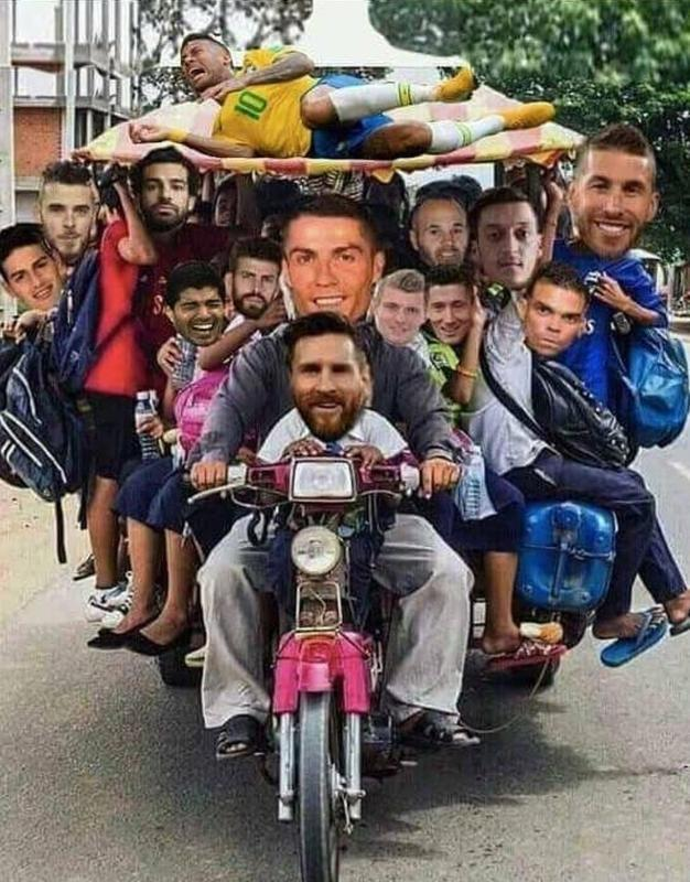This motorbike is crowded, proving the good