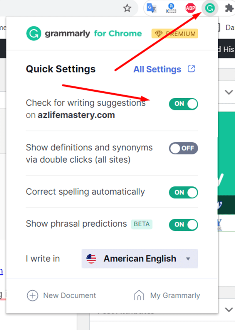 """Install option """"Grammarly for Chrome"""""""