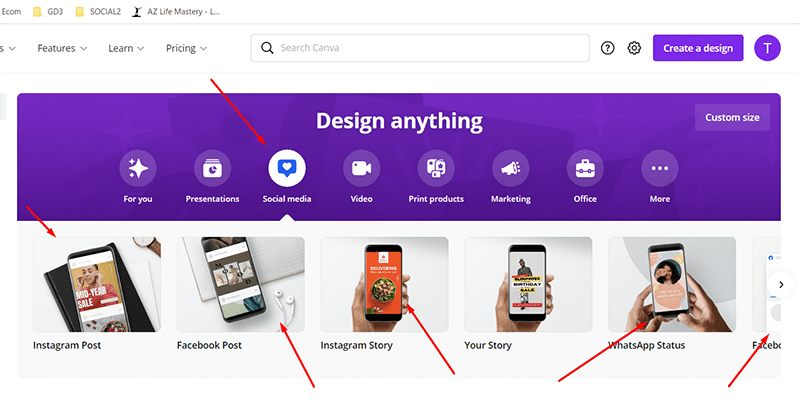 Instructions for designing online ads using Canva