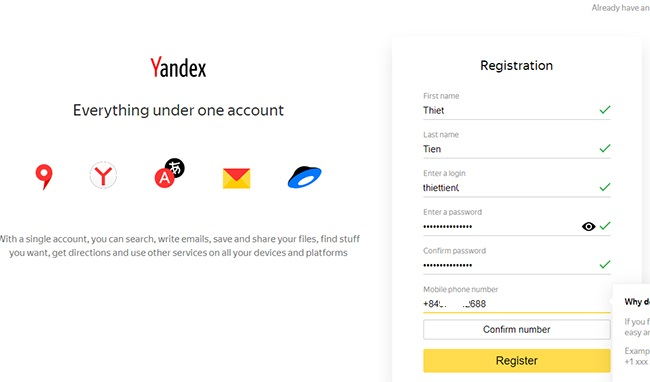 Sign up for a Yandex account