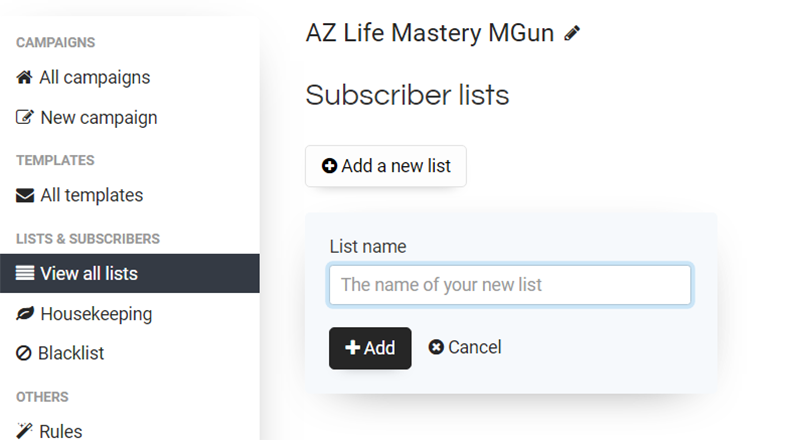 View all lists link in the left menu