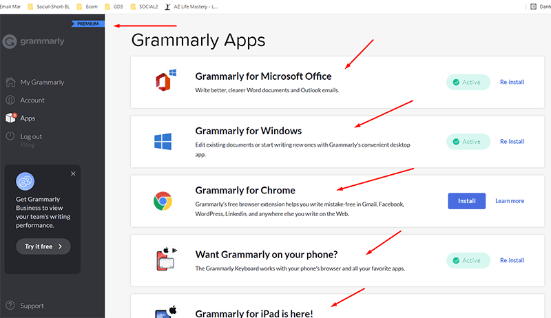 Grammarly premium account have many apps