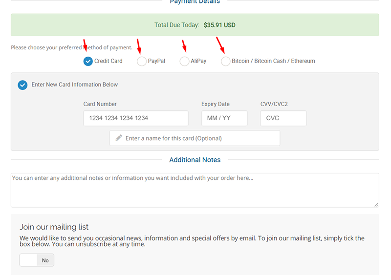 You can choose to pay via credit card or PayPal, even virtual currency