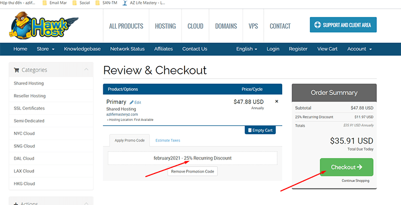 You have clicked through the link above Hawkhost will add a discount code for you, because you are their partner.In the example above you are reduced from $ 48 / year to only $ 36 / year