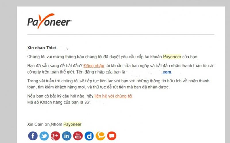 Your Payoneer account request has been approved!